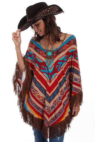 Scully Ladies' Honey Creek Serape Poncho with Fringe Front View