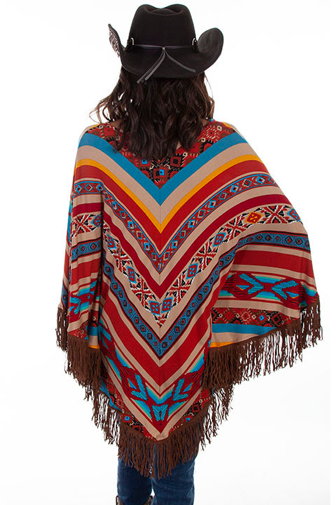 Scully Ladies' Honey Creek Serape Poncho with Fringe Back View