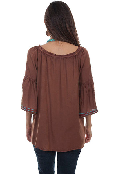 Scully Ladies' Honey Creek Tunic Top Cinnamon with Floral Embroidery Front