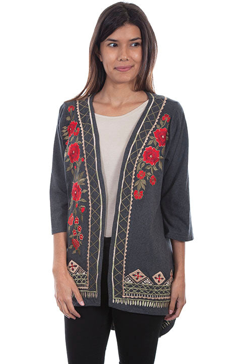 Scully Ladies' Honey Creek Kimono Grey with Embroidery, Hi Lo Hem. Front