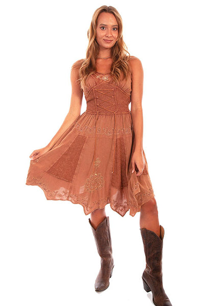 Scully Honey Creek Dress Tonal Embroidered Dress Front HC534