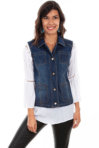 Scully Honey Creek Ladies' Denim Vest #548 Front
