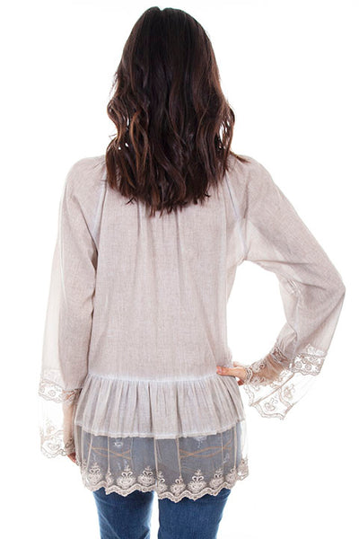 Scully Ladies' Honey Creek Top Scoop Neck with Lace Sleeves Front