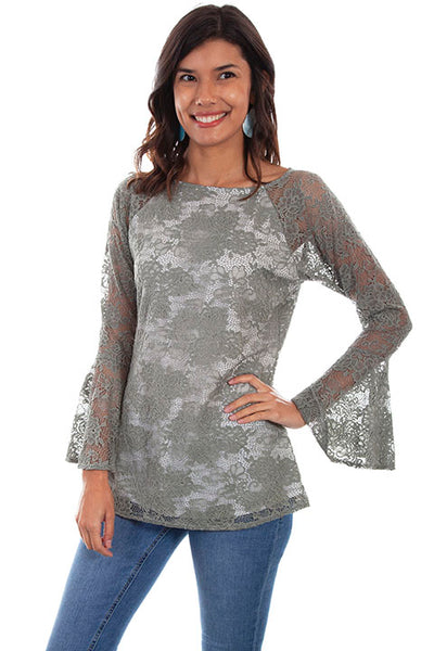 Scully Ladies' Honey Creek Pullover Top Sage Lace Front