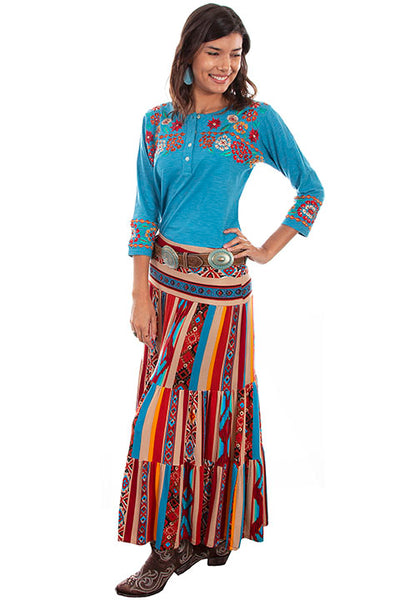 Scully Ladies' Honey Creek Serape Three Tiers Maxi Skirt Side View