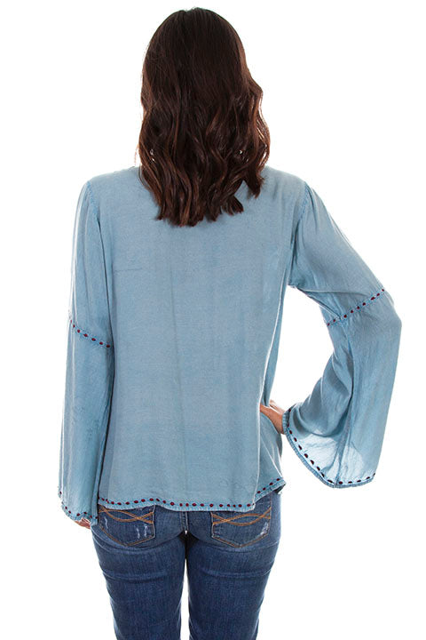 Scully Ladies' Honey Creek Tunic Top with Floral Embroidery Sky Blue Back