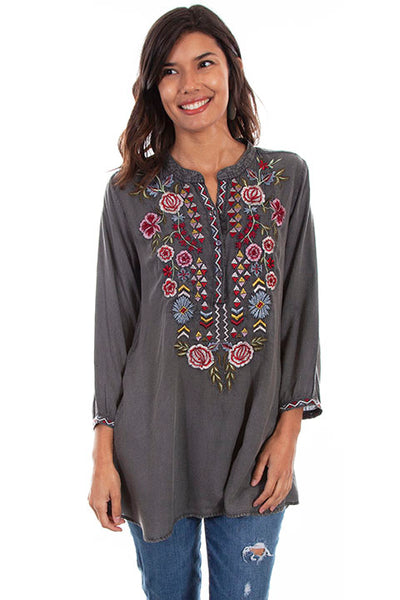 Scully Ladies' Honey Creek Tunic Top with Folk Embroidery Front