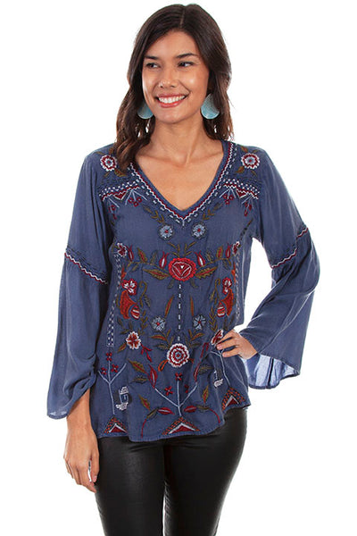 Scully Ladies' Honey Creek Tunic with Embroidery and Bell Sleeves Front