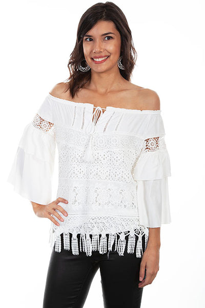 Scully Ladies' Honey Creek Off Shoulder Top with Fringe Hem