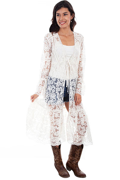 Scully Ladies' Honey Creek Floral Lace Duster Ivory HC575