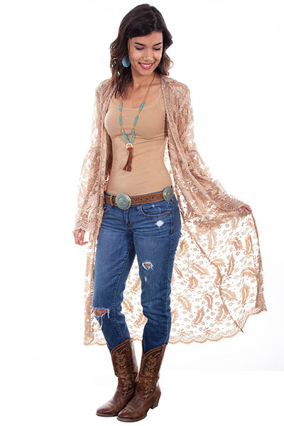 Scully Ladies' Honey Creek Floral Leaf Lace Duster Taupe HC576