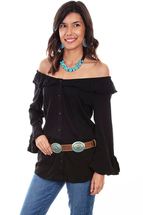 Scully Ladies' Honey Creek Off The Shoulder Top with Ruffles Black Front