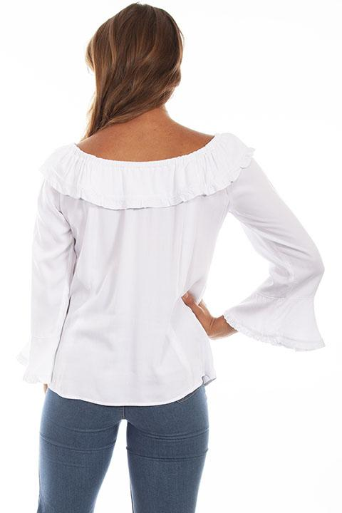 Scully Ladies' Honey Creek Off The Shoulder Top with Ruffles White Back