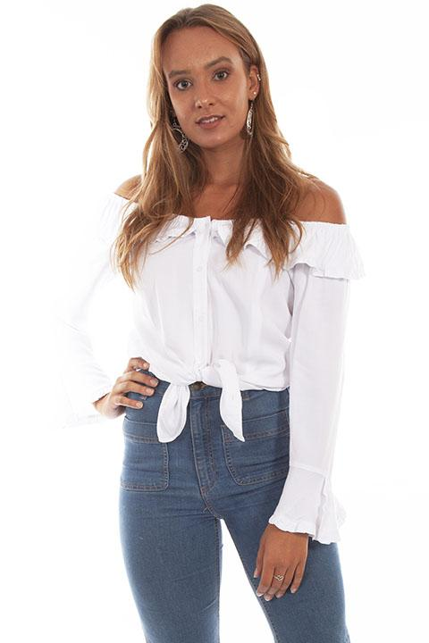 Scully Ladies' Honey Creek Off The Shoulder Top with Ruffles White Front