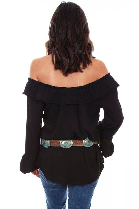 Scully Ladies' Honey Creek Off The Shoulder Top with Ruffles Black Back
