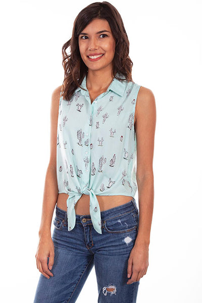 Scully Ladies' Honey Creek Tie Front Cactus Print Top
