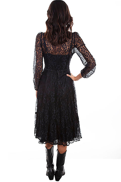 Scully Ladies' Honey Creek Mid Length Lace Dress Black Back