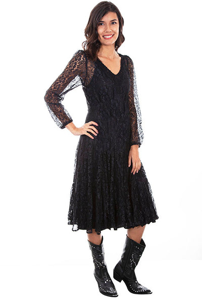Scully Ladies' Honey Creek Mid Length Lace Dress Black Front