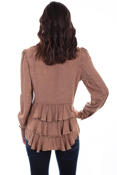Scully Honey Creek Ladies' Bustle Back Button Front Sand