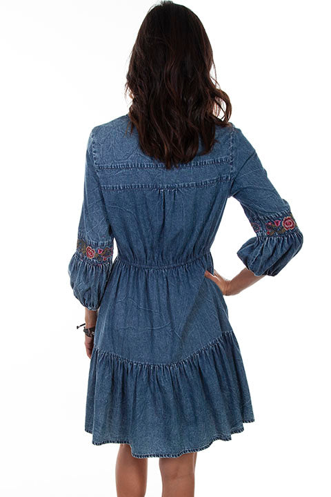 Scully Ladies' Honey Creek Dress Flirty Denim with Embroidery Back