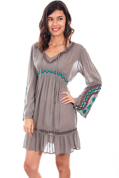 Scully Ladies' Honey Creek Empire Waist Dress with Embroidery Front