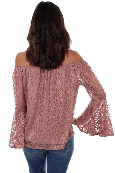 Scully Ladies' Honey Creek Top with Mauve Crochet Lace Front