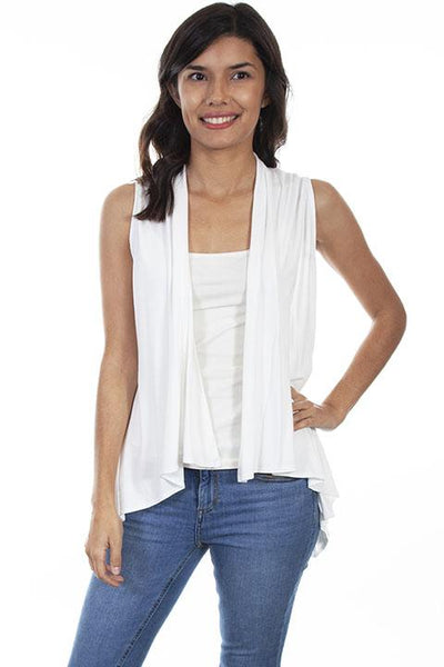 Scully Honey Creek Ladies' Knit Vest with Lace Back Ivory HC594 Front