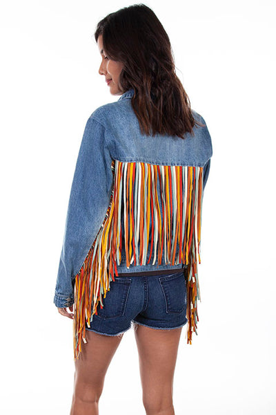 Scully Ladies' Honey Creek Denim Jacket Colorful Fringe Front #HC599