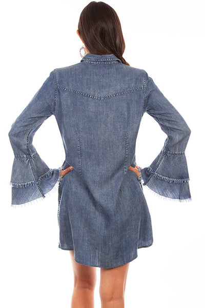 Scully Honey Creek Double Ruffle Cuff Western Denim Dress #719619