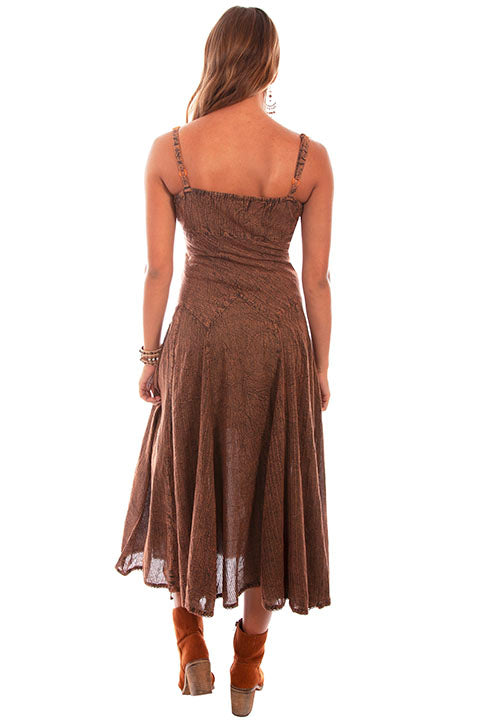 Honey Creek Dress Spaghetti Strap, Adjustable Hem, Copper Back