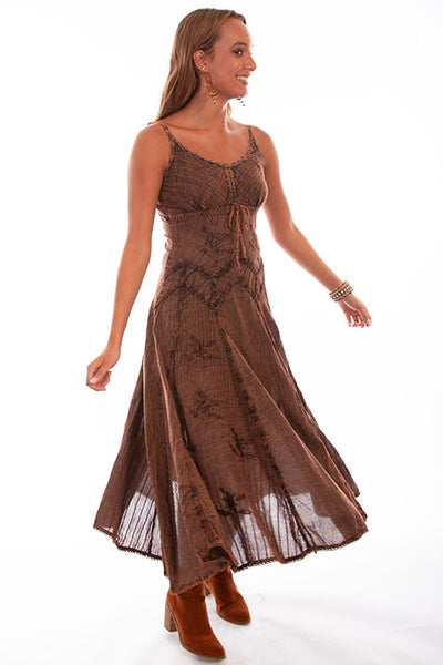Honey Creek Dress Spaghetti Strap, Adjustable Hem, Copper