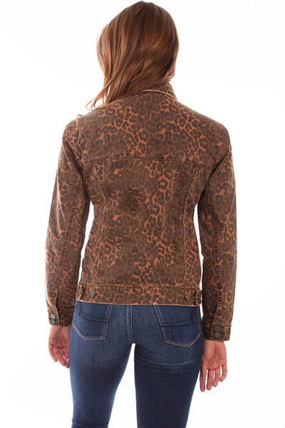 Scully Honey Creek Ladies' Leopard Denim Jacket Front  #719642