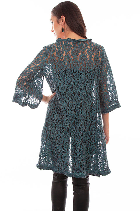HC643 Scully Ladies' Honey Creek Forest Green Lace Duster Back