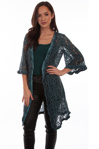 HC643 Scully Ladies' Honey Creek Forest Green Lace Duster Front