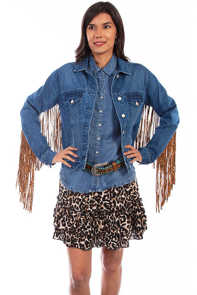 Scully Honey Creek Ladies' Denim Jacket Leopard Print Fringe Back HC647