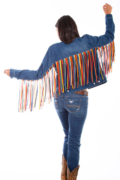 Scully Honey Creek Ladies' Denim Jacket Serape Fringe Back HC652