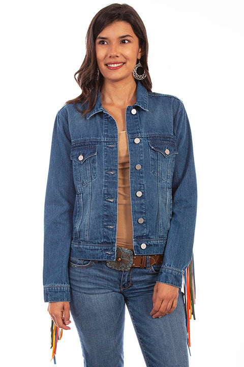 Scully Honey Creek Ladies' Denim Jacket Serape Fringe Front HC652