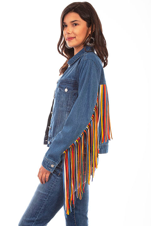 Scully Honey Creek Ladies' Denim Jacket Serape Fringe Side HC652