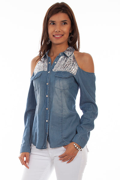 Scully Ladies' Honey Creek Denim Open Shoulder Sequins HC661