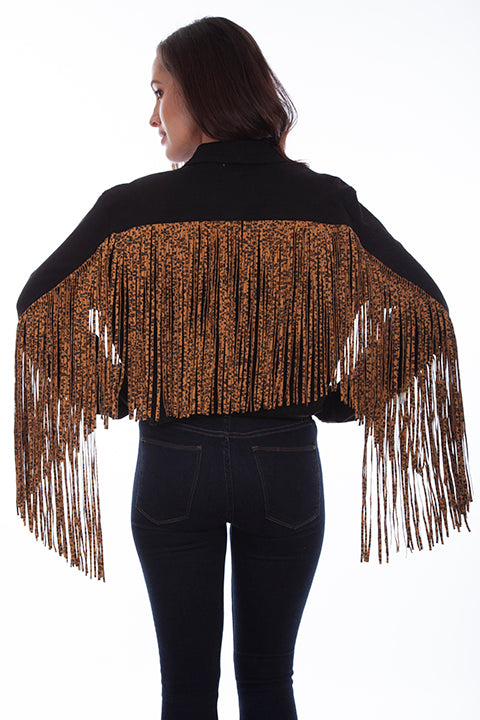 Scully Honey Creek Ladies' Black Denim Jacket Leopard Fringe Back HC662