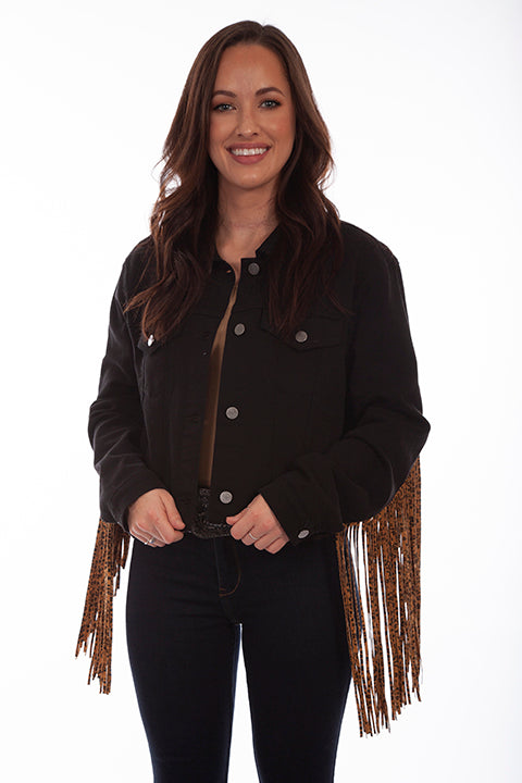 Scully Honey Creek Ladies' Black Denim Jacket Leopard Fringe Front HC662