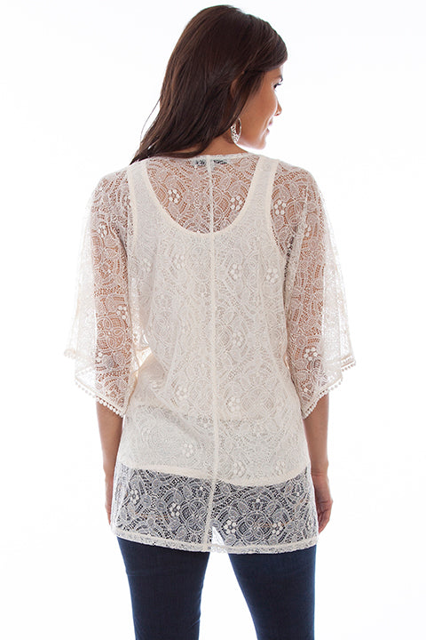 Women's Honey Creek Collection Blouse: Lace Cardigan Solid Tank