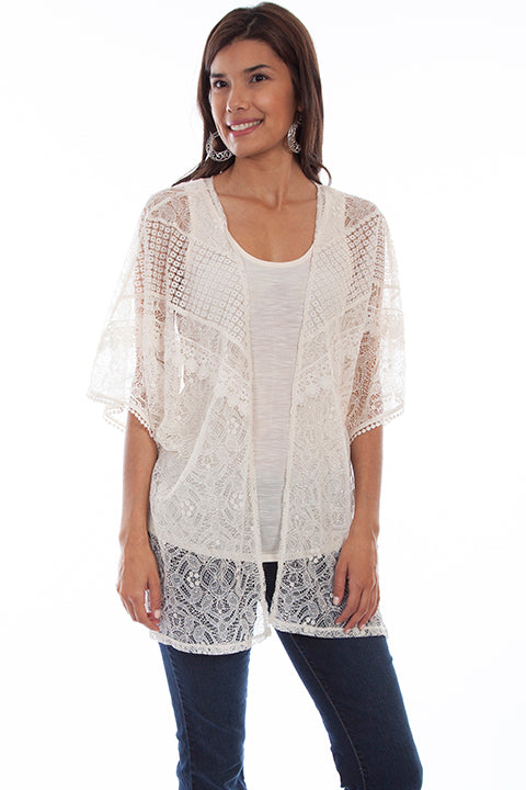 Scully Ladies' Honey Creek Lace Cardigan and Tank Sand HC667