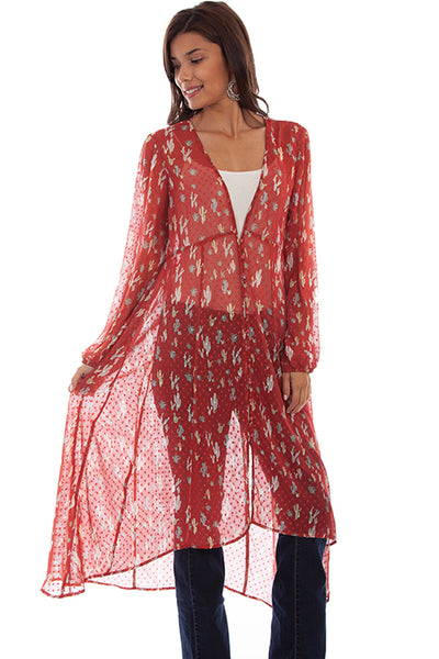 Scully Ladies' Honey Creek Swiss Dot Duster Cactus Print HC668