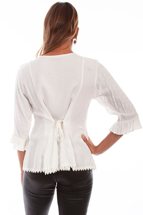 Honey Creek Blouse with 3/4 Sleeves, Ruffles, Buttons Ivory Back XS-2XL