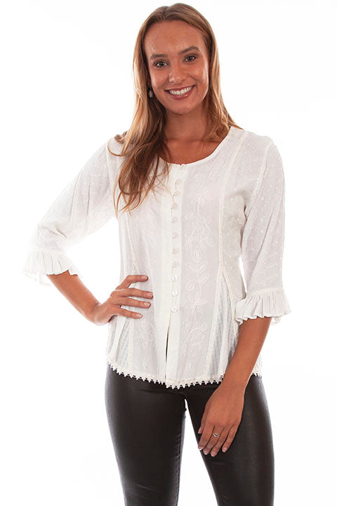 Honey Creek Blouse with 3/4 Sleeves, Ruffles, Buttons Ivory Front XS-2XL
