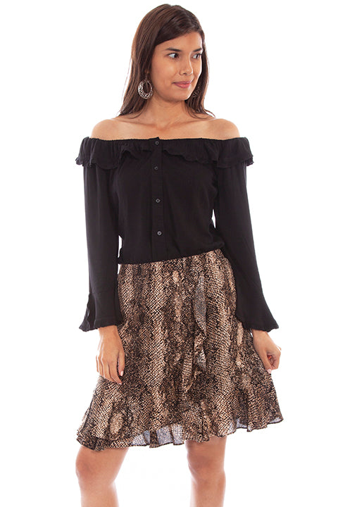 Scully Honey Creek Ladies' Python Print Skirt Front