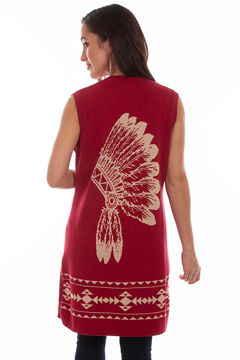 Honey Creek Sleeveless Cardigan Headdress Red Back