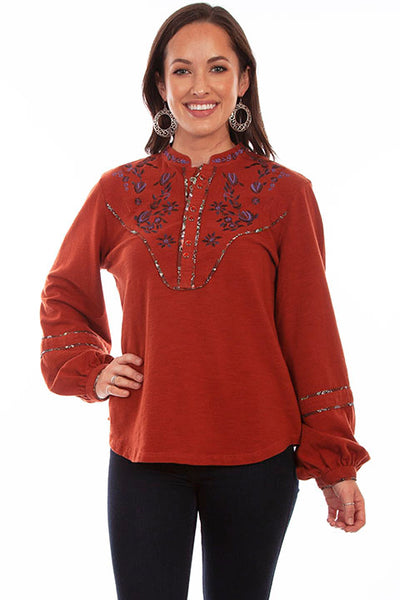 Scully Ladies' Honey Creek Embroidered Pullover Front HC682