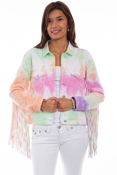 Honey Creek Ladies' Sherbert Denim Fringe Jacket Front HC688